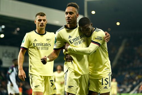 Arsenal's Pierre-Emerick Aubameyang celebrates scoring their side's fifth goal of the match during the Carabao Cup second round match at The Hawthorns, West Bromwich