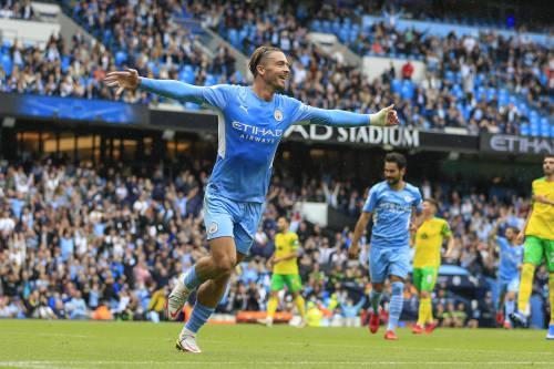 Premier League Manchester City vs. Norwich City CELEBRATION Jack Grealish 10 in Manchester City celebrates scoring to 2-0
