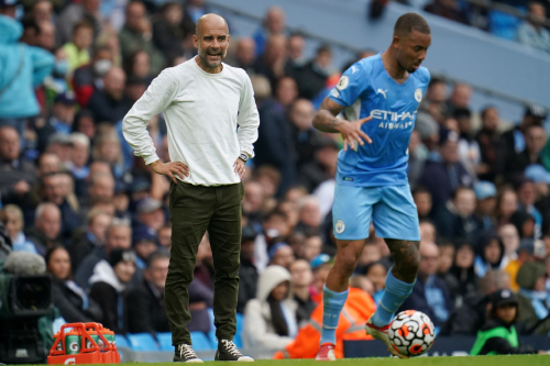 Manchester City manager Pep Guardiola during the Premier League match at the Etihad Stadium