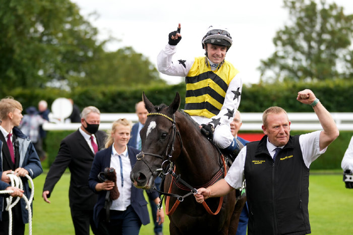 Commanche Falls and Connor Beasley after winning the Stewards' Cup at Goodwood