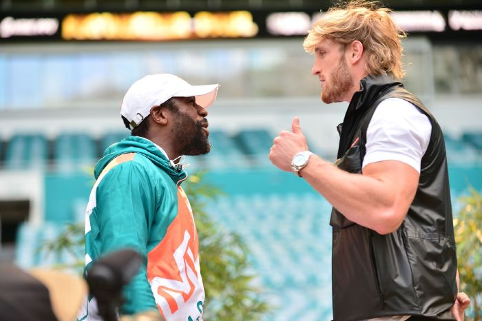 Floyd Mayweather goes face to face with Logan Paul ahead of their exhibition bout in June.