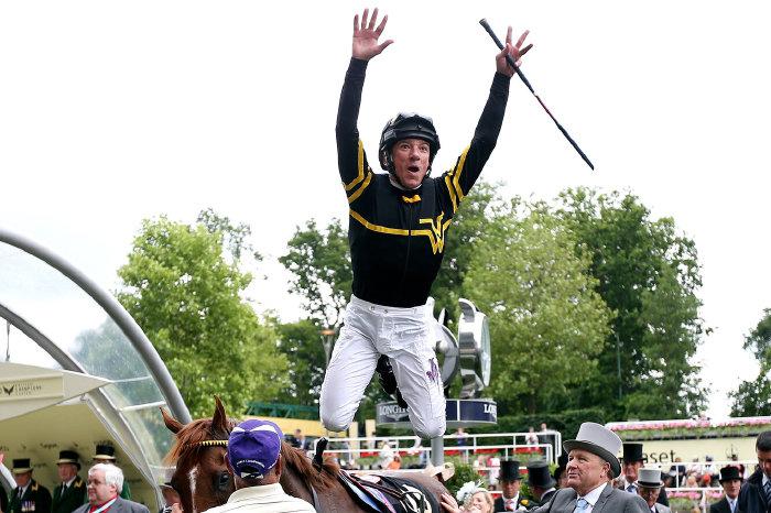 Frankie Dettori trademark leap at Royal Ascot