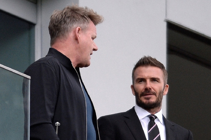 David Beckham, seen here with chef Gordon Ramsey, has increased his stake in Inter Miami