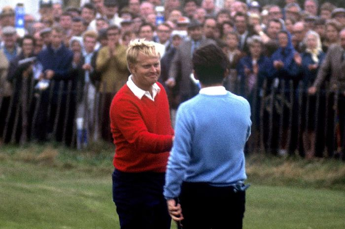Jack Nicklaus concedes Tony Jacklin's putt at the 1969 Ryder Cup