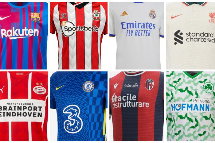 Kit collage of selected 2021/22 season shirts