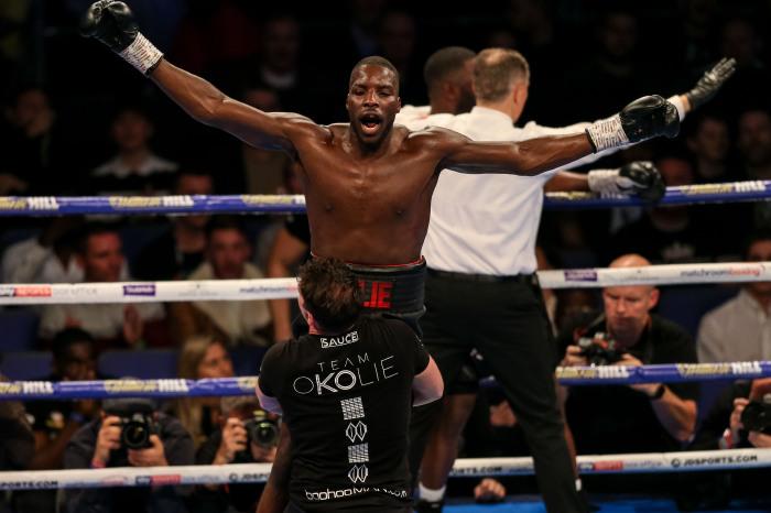 Lawrence Okolie celebrates beating Yves Ngabu during his EBU Cruiserweight title bout at the O2 Arena, London.