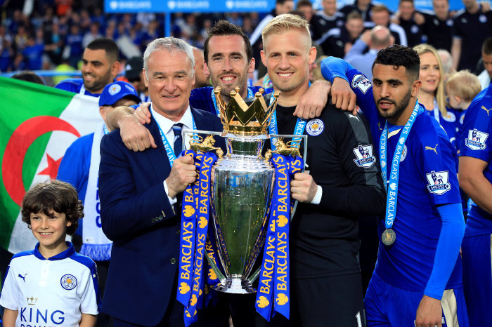 Claudio Ranieri with the Premier League trophy at Leciester