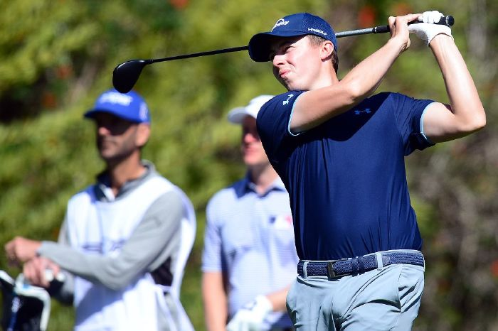 Matthew Fitzpatrick in action during round one of the Genesis Invitational