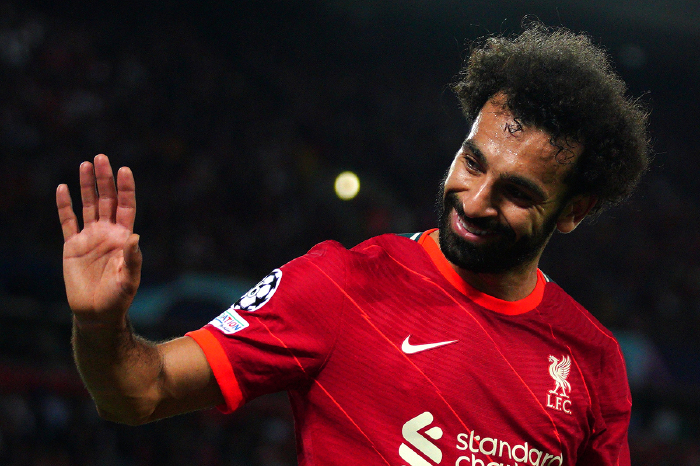 Mo Salah reacts for Liverpool
