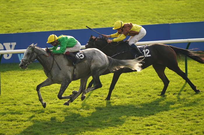 Oisin Murphy riding Buzz (left) on their way to winning the Together For Racing International Cesarewitch Handicap at Newmarket Racecourse.