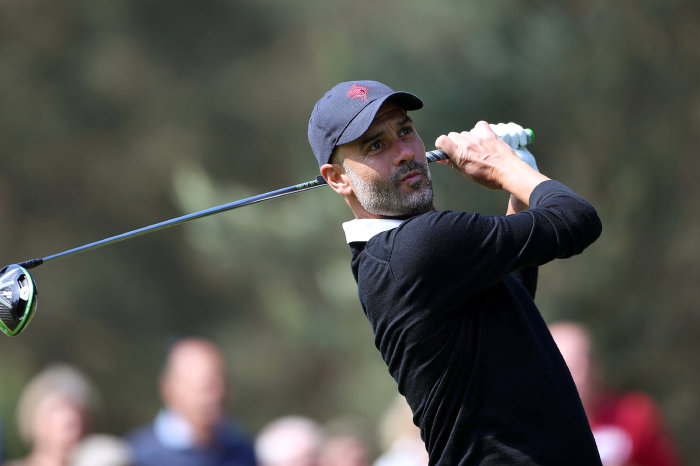 Pep Guardiola in action at Wentworth