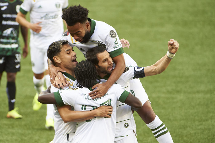 Portland Timbers celebrate a goal in the CONCACAF Champions League