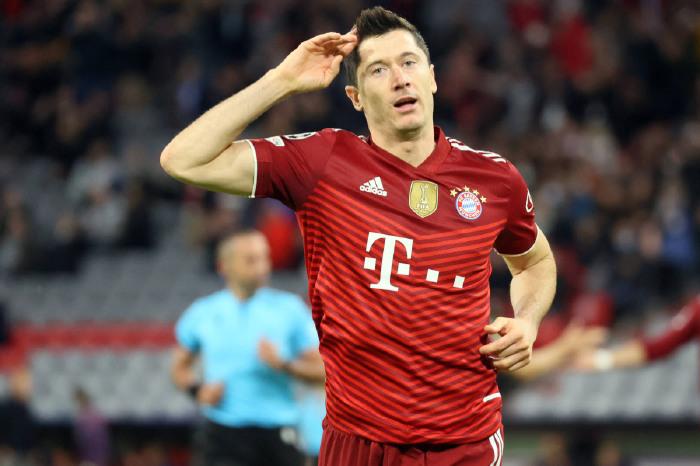 Robert Lewandowski scored twice in the Champions League in mid-week
