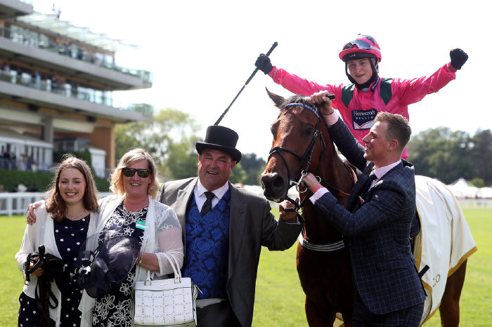 Jockey Cieren Fallon celebrates winning the King's Stand Stakes on Oxted.
