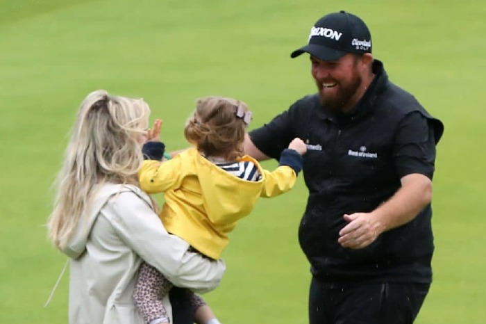 Shane Lowry celebrates with his family after winning the 2019 Open