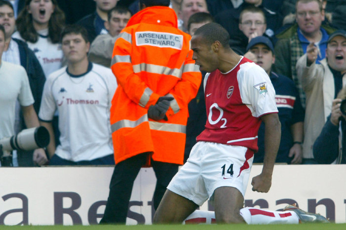 Thierry Henry celebrates after scoring against Tottenham
