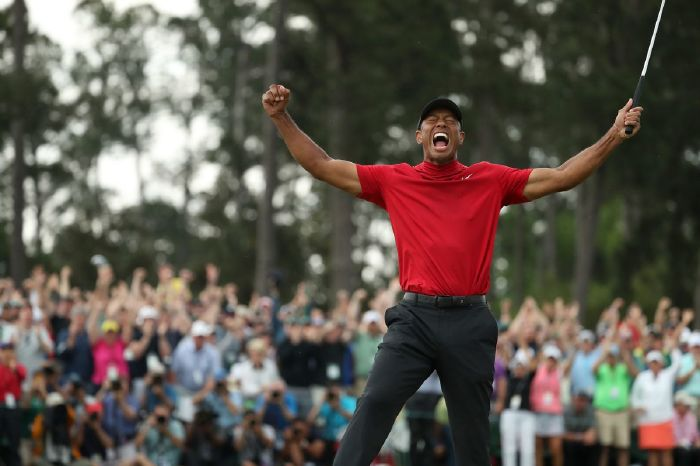 Tiger Woods winning the 2019 Masters.
