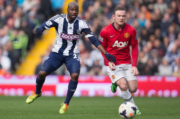 West Brom's Youssuf Mulumbu and Man Utd's Wayne Rooney