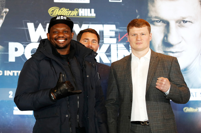 Dillian Whyte stopped Alexander Povetkin in the fourth round of their rematch in Gibraltar.