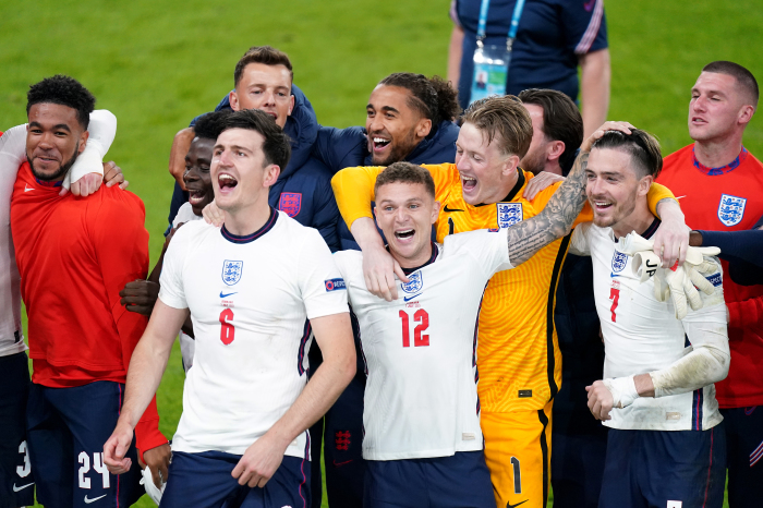 England celebrate the victory over Denmark