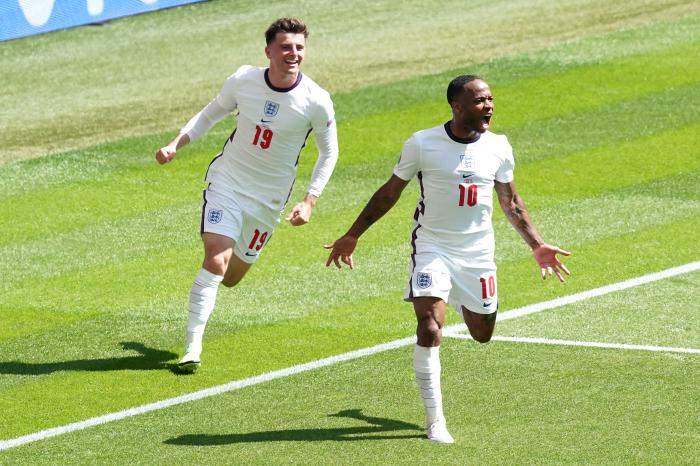 Raheem Sterling celebrates for England