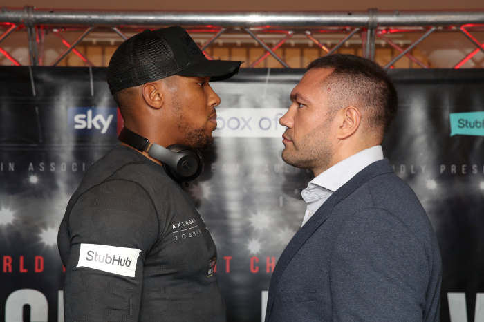 Anthony Joshua and Kubrat Pulev clash at weigh-in ahead of Saturday's fight