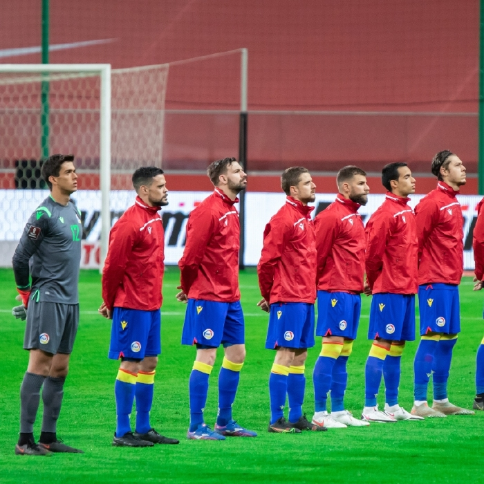 The Andorra team line up against Poland in March