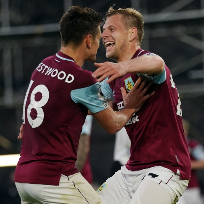 Ashley Westwood and Matej Vydra get all huggy for Burnley