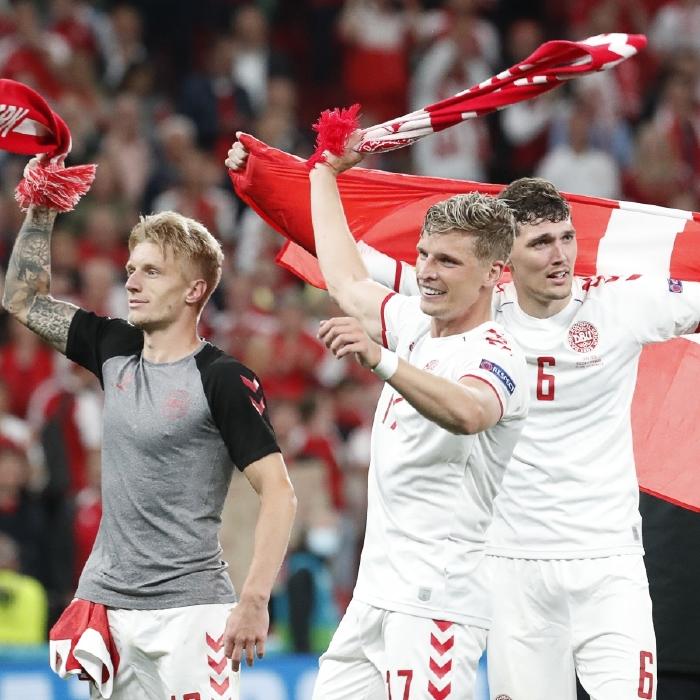 Denmark celebrate reaching the last 16 of Euro 2020