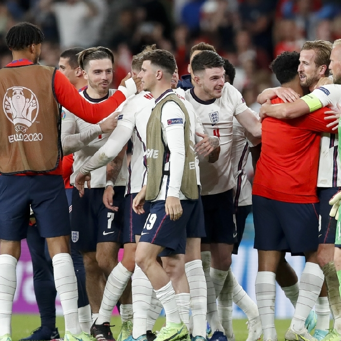England celebrate after beating Denmark to reach the Euro 2020 final