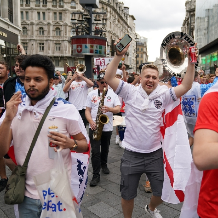 England fans get into the party spirit ahead of the Euro 2020 final