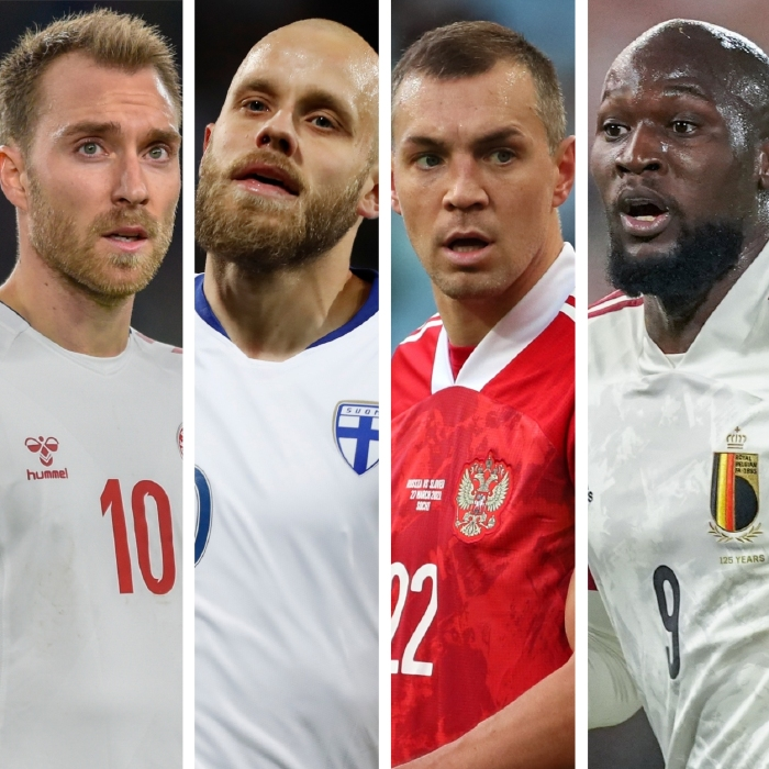 Denmark's Christian Eriksen, Finland's Teemu Pukki, Russia's Artem Dzyub and Belgium's Romelu Lukaku all face off in Group B