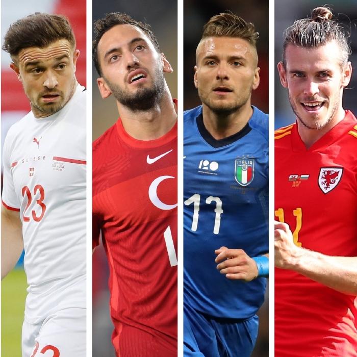 Switzerland's Xherdan Shaqiri, Turkey's Hakan Calhanoglu, Italy's Ciro Immobile and Wales' Gareth Bale all face off in Group A