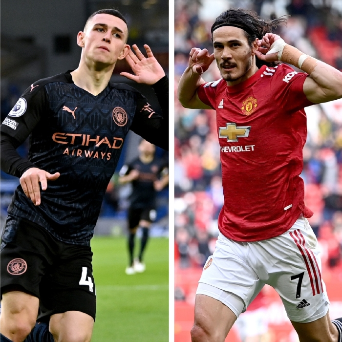 Phil Foden and Edinson Cavani enjoyed their celebrations in front of the fans on Tuesday night