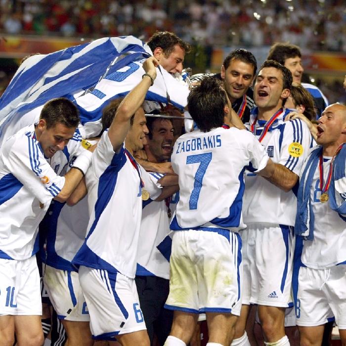 Greece celebrate their shock Euro 2004 success