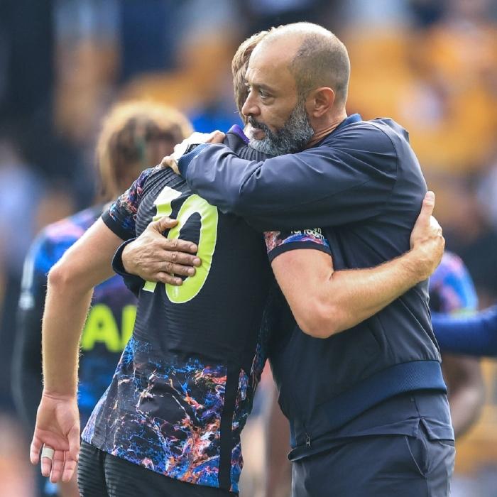 Nuno Espirito Santo embraces Harry Kane after Tottenham's win over Wolves
