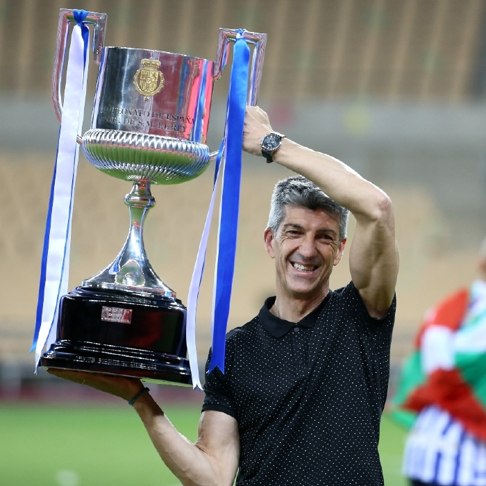 Real Socieded's Imanol Alguacil was a happy man after they beat Athletic Bilbao to secure a long-awaited trophy.