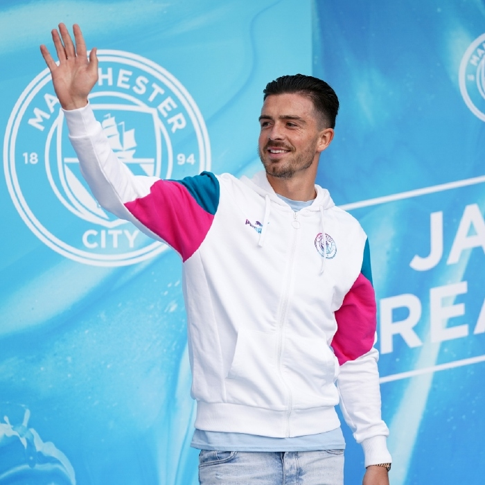 Jack Grealish waves at fans as he is unveiled as Manchester City's record signing, Etihad Stadium