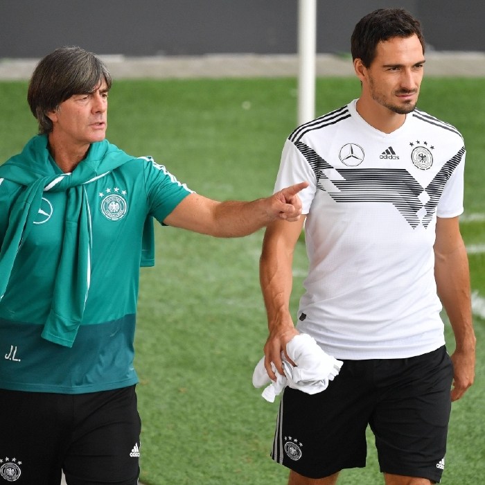 Joachim Low with Germany defender and producer of exquisite assists Matt Hummels