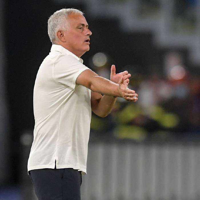 Jose Mourinho takes charge of his first competitive game for Roma