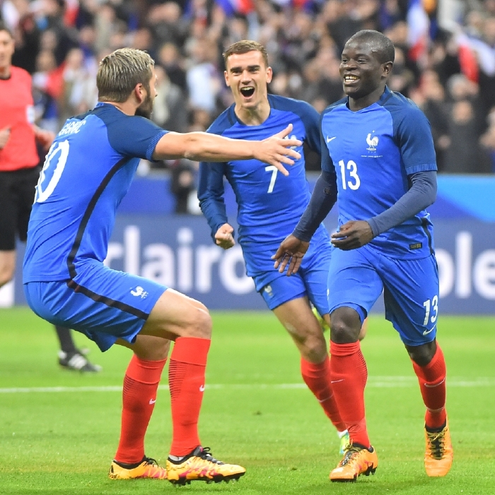 N'Golo Kante celebrates his first goal for France