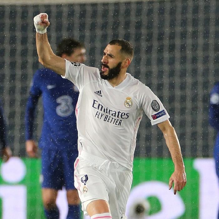Karim Benzema celebrates his Champions League equaliser against Chelsea