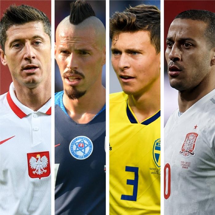 Robert Lewandowski's Poland face off against Marek Hamsik and Slovakia, Victor Lindelof;s Sweden and Spain and Sergio Buusquets in Group E