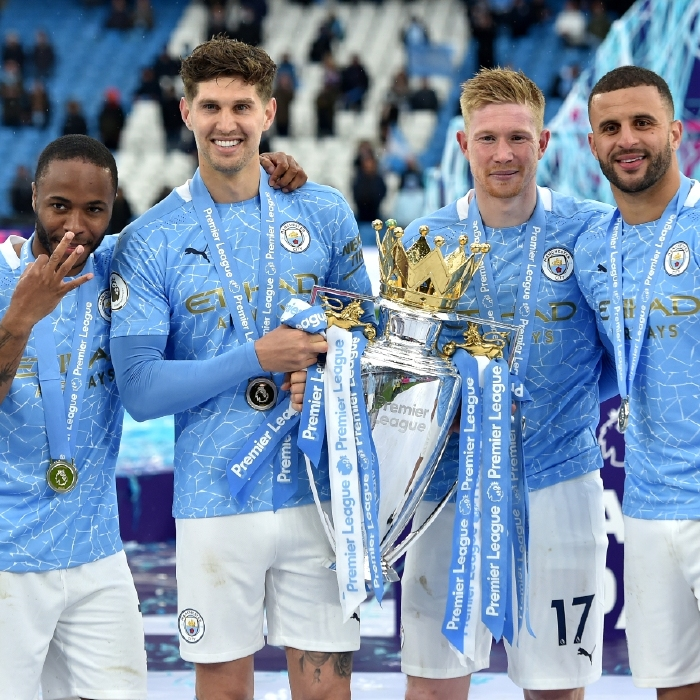 Raheem Sterling, John Stones and Kyle Walker, seen here with Manchester City team-mate Kevin De Bruyne