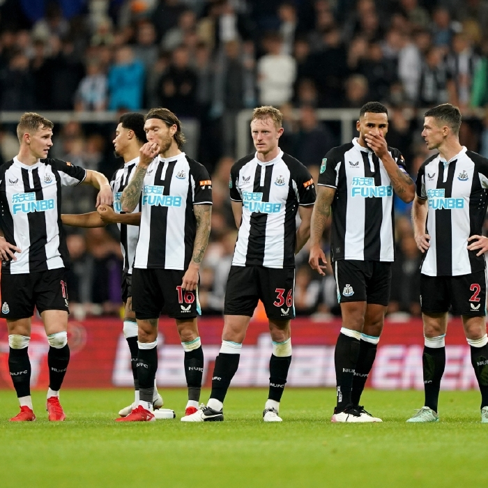 Newcastle players look dejected during their penalty shootout defeat to Burnley in the EFL Cup