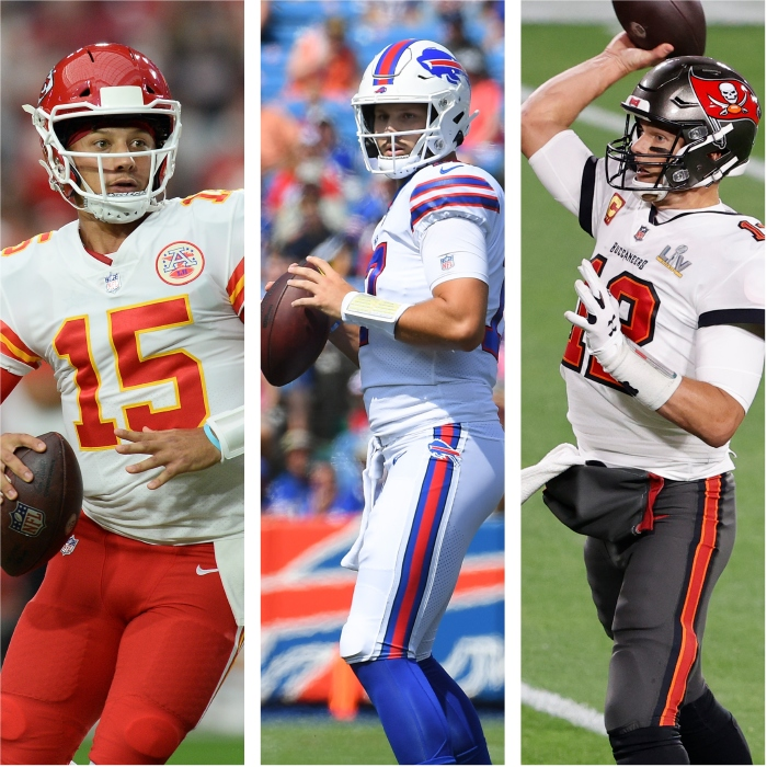 Three of the favourites for the MVP (from L-R) Mahomes, Donald and Brady