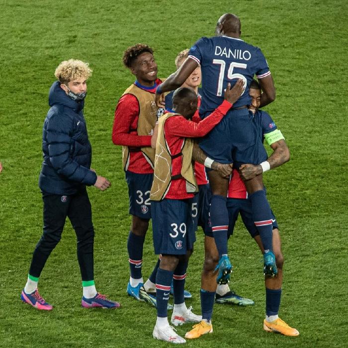Paris Saint-Germain celebrate their Champions League progress