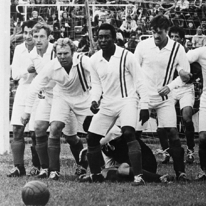 Pele is in action in the film Escape To Victory
