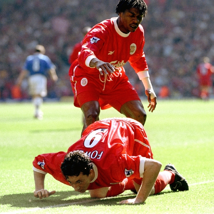 Robbie Fowler 'celebrates' a goal for Liverpool against Everton