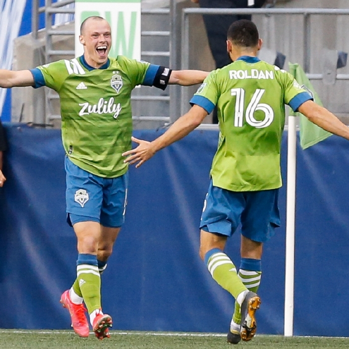 Brad Smith celebrates scoring for the in-form Seattle Sounders